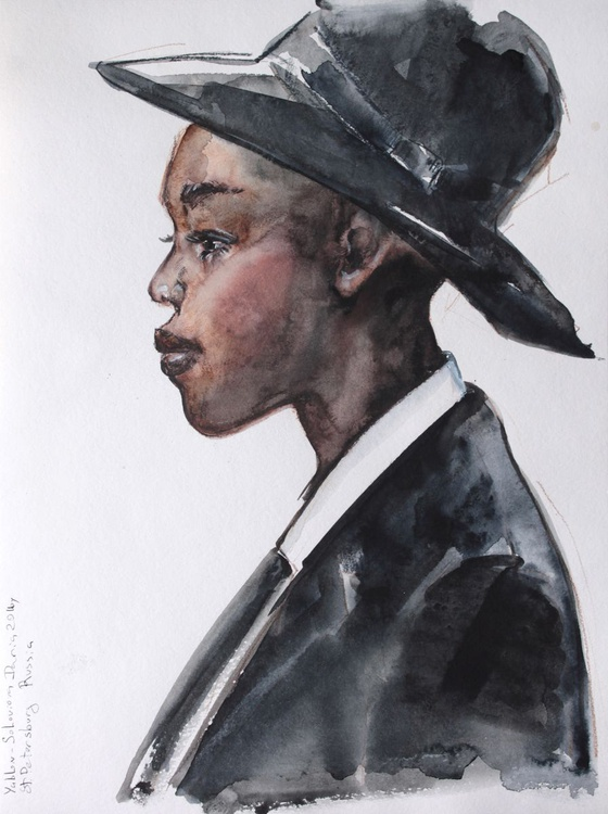 Young black lady in Al Capone style  12x16 in 30x40cm - Image 0