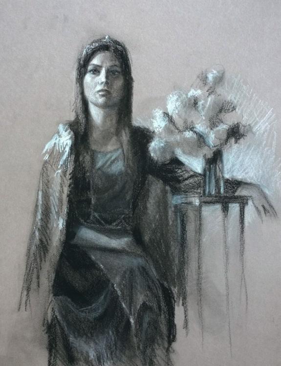 Life Drawing - Woman and Persian Lilacs - Image 0