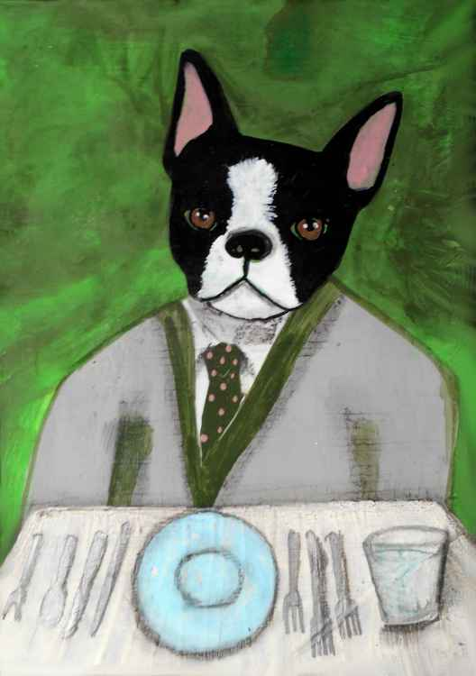 Boston Terrier Having a Formal Dinner in the Green Room -