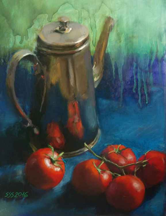 Tomatoes on blue -