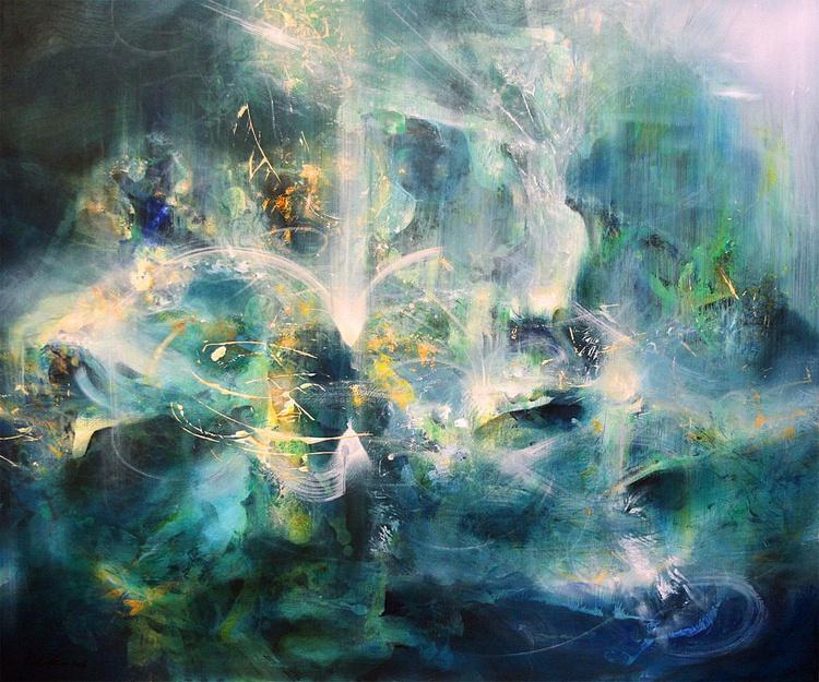 HUGE MASTERPIECE BY OVIDIU KLOSKA IN ETERNITY WE TRUST DREAMSCAPE TURQUISE AND LIGHT COSMIC VIBRATIONS FANTASTIC DARK BEAUTY - Image 0