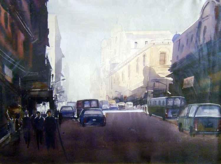 City at Early Morning-Watercololor painting. -
