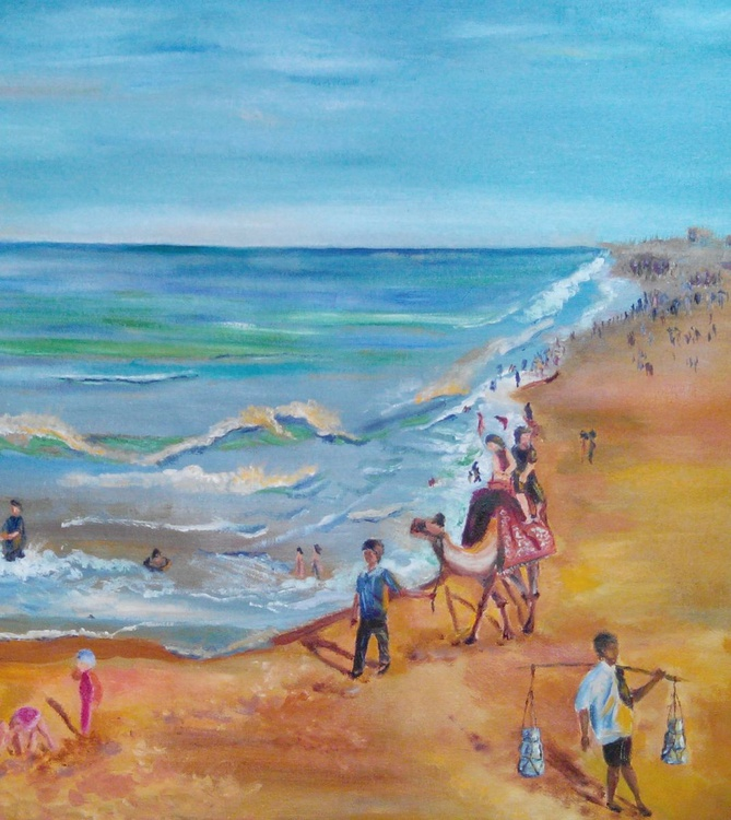 PURI BEACH 2, INDIA, OIL PAINTING, IMPRESSIONISTIC, GIFT , SOUVENIR, ready to hang, small, framed - Image 0