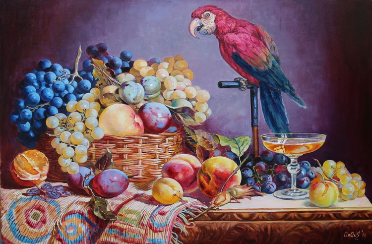 still life Grapes and Macaw Parrot - Image 0