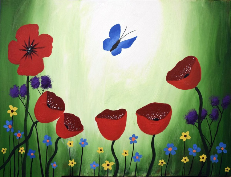 original painting on canvas hand made flowers english countryside abstract landscape butterfly floral flower artwork painting art canvas - 18 x 24 inches box canvas - Image 0