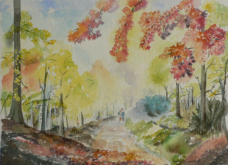 Autumn in Chilterns, watercolor, ready to hang, framed, gift - Image 0