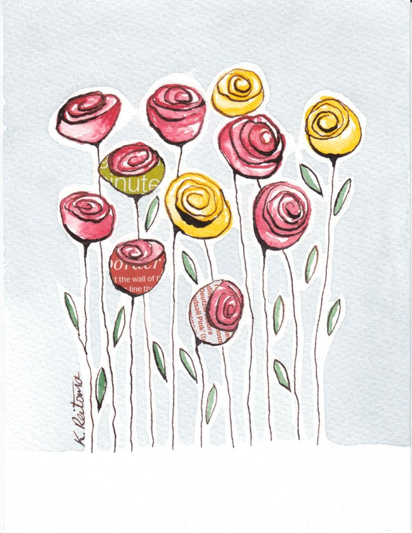 Red and Yellow Roses, Mixed Media Flower series - Image 0