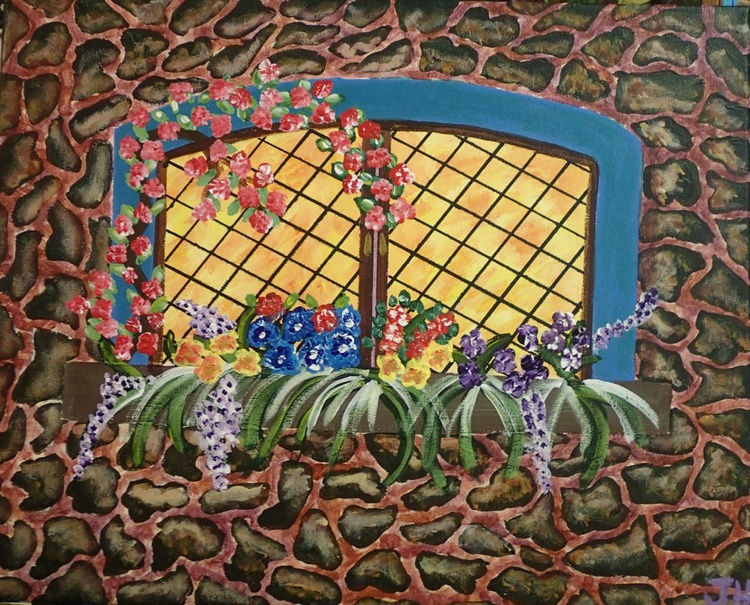 """Rock Wall and Window with Flowers - Image 0"