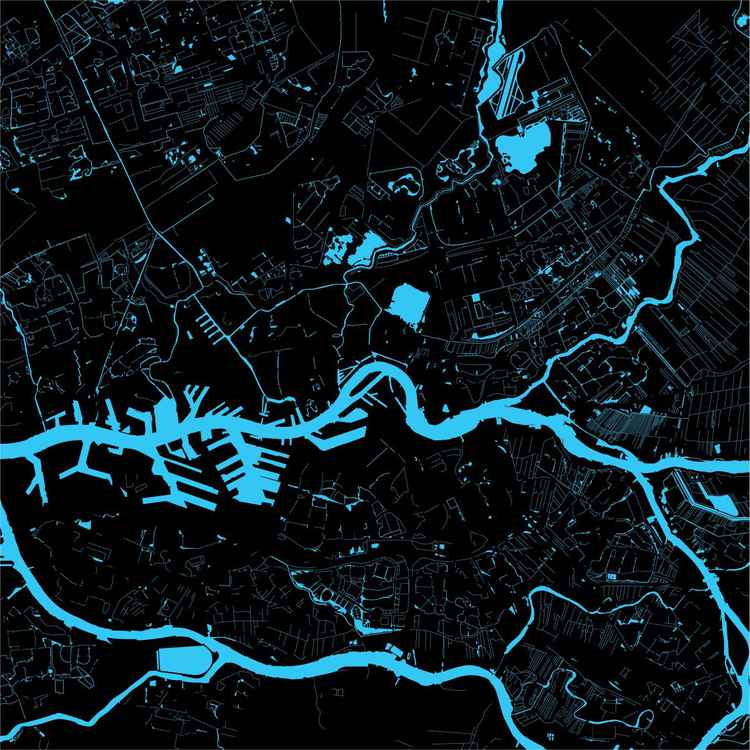Limited water map of Rotterdam in 2014
