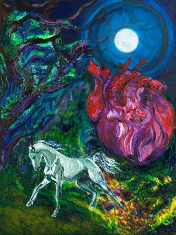Messenger Of Heart and Moon. Acrylic on canvas