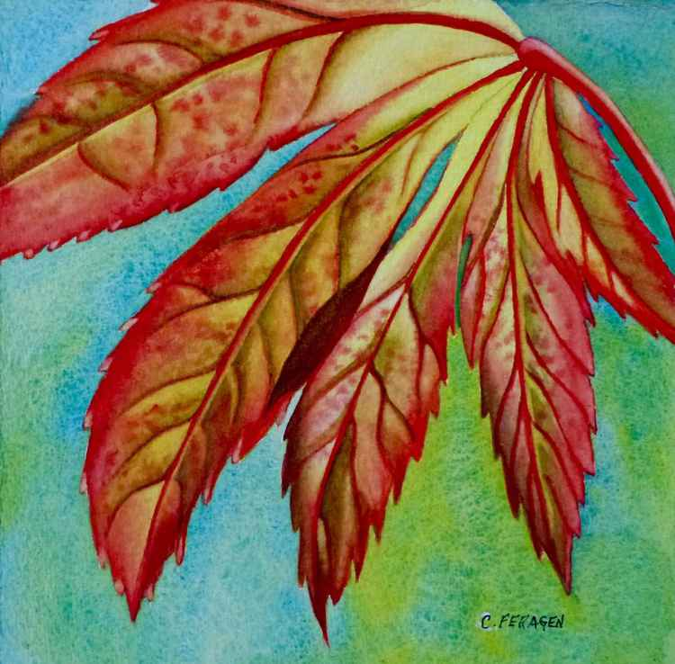 FREE SHIPPING--Red Leaf -