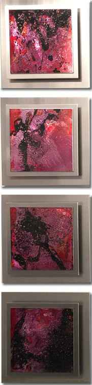 Layered Metal Panel Artwork 'Seduction'  Rose Pink Wall Art | Pink/Black/Silver Painting by Nicholas Yust