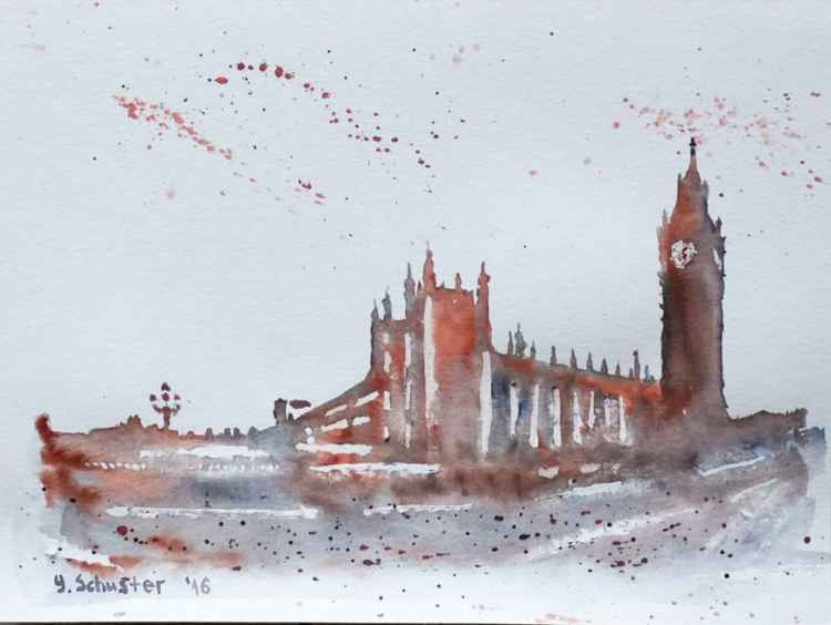 Big Ben and and Westminster Palace.  Abstract watercolor -