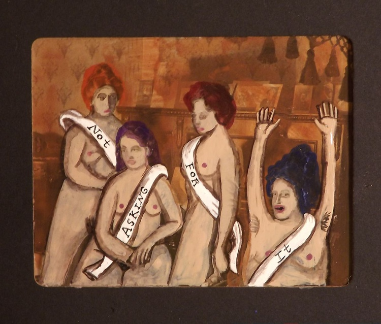 4 Women Not Asking for It Original Acrylic and Watercolor Painting - Image 0