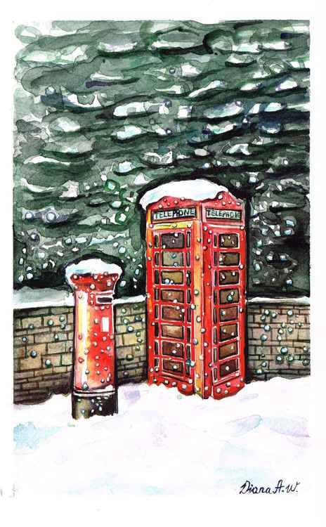 Red Telephone Box and Post Stand in the Snow, London