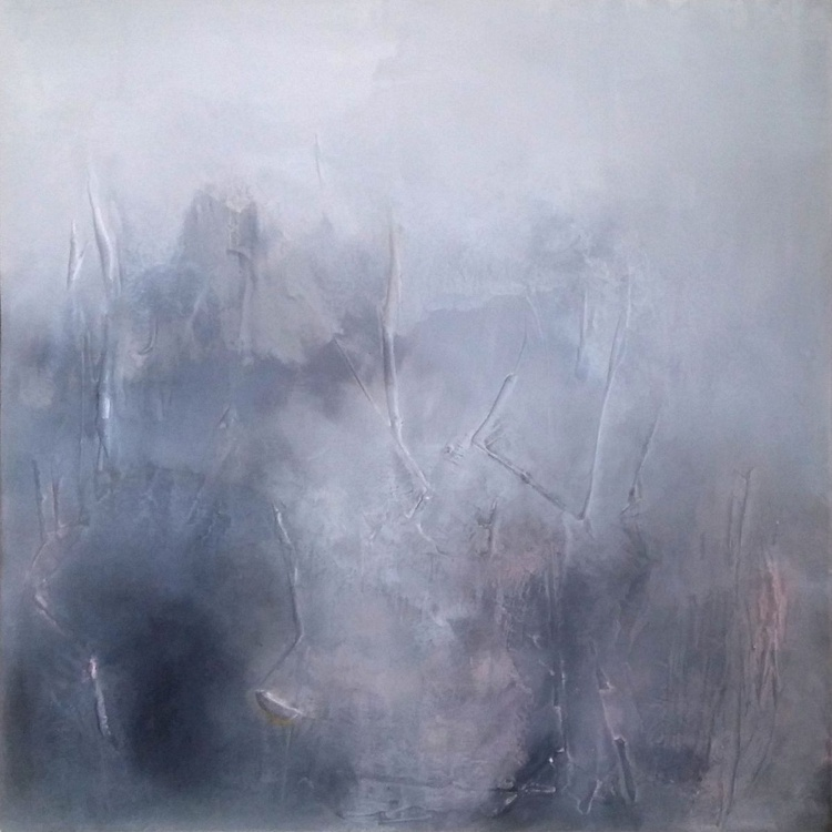 Misty landscape 2 Textured abstract painting - Image 0
