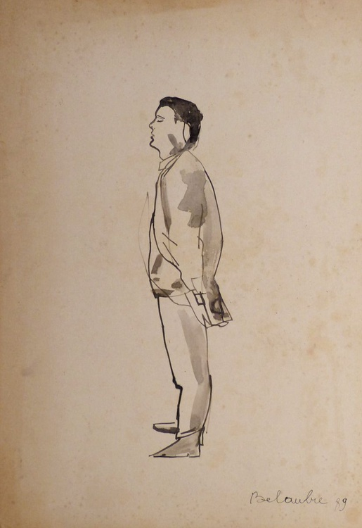 Yves, ink on cardboard 60x40 cm - Image 0