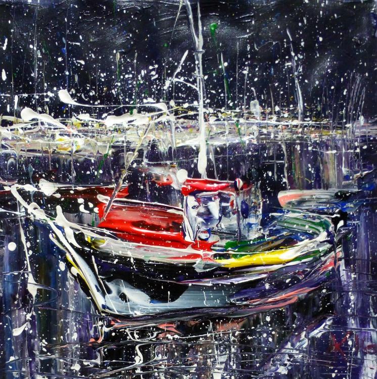 Night yacht, original painting 30x30 cm - Image 0