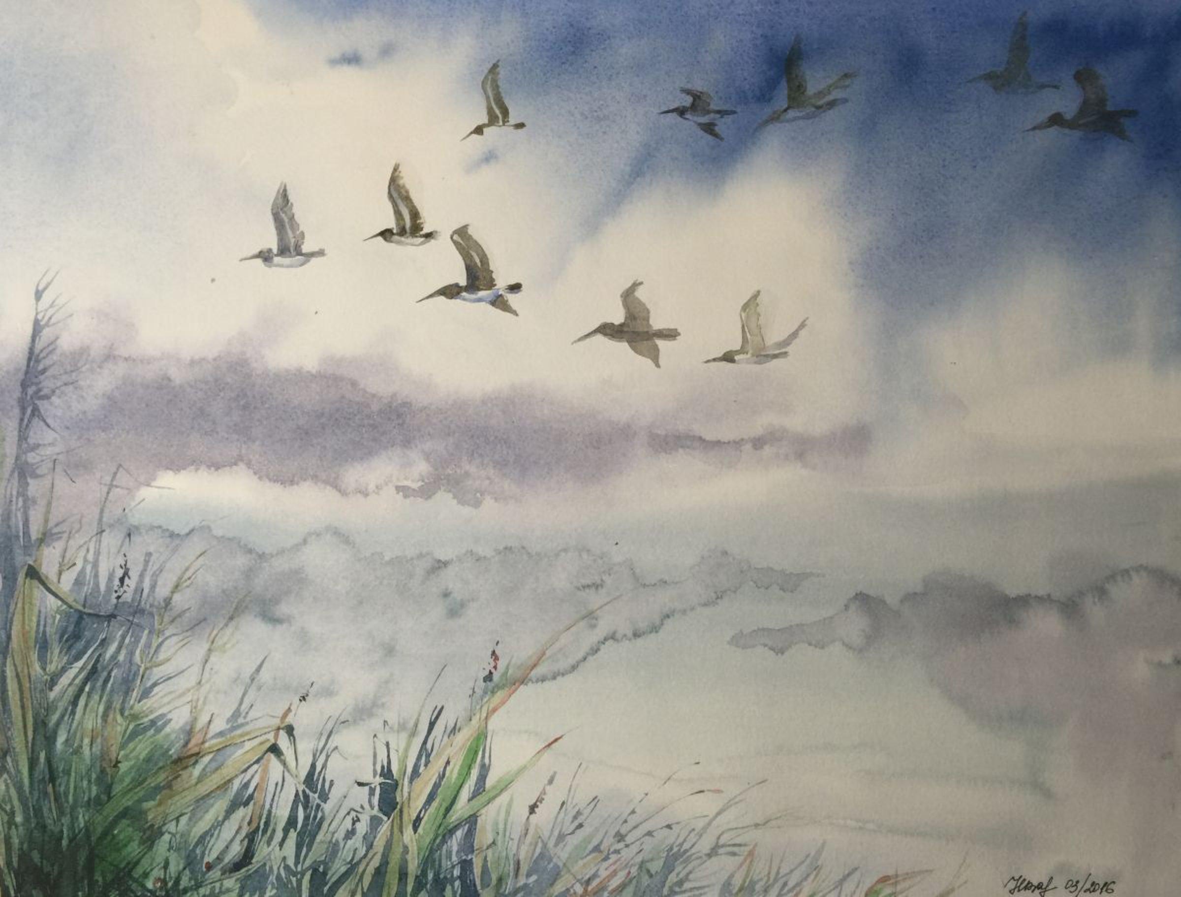 Birds flying in cloudy sky, watercolor painting | Artfinder
