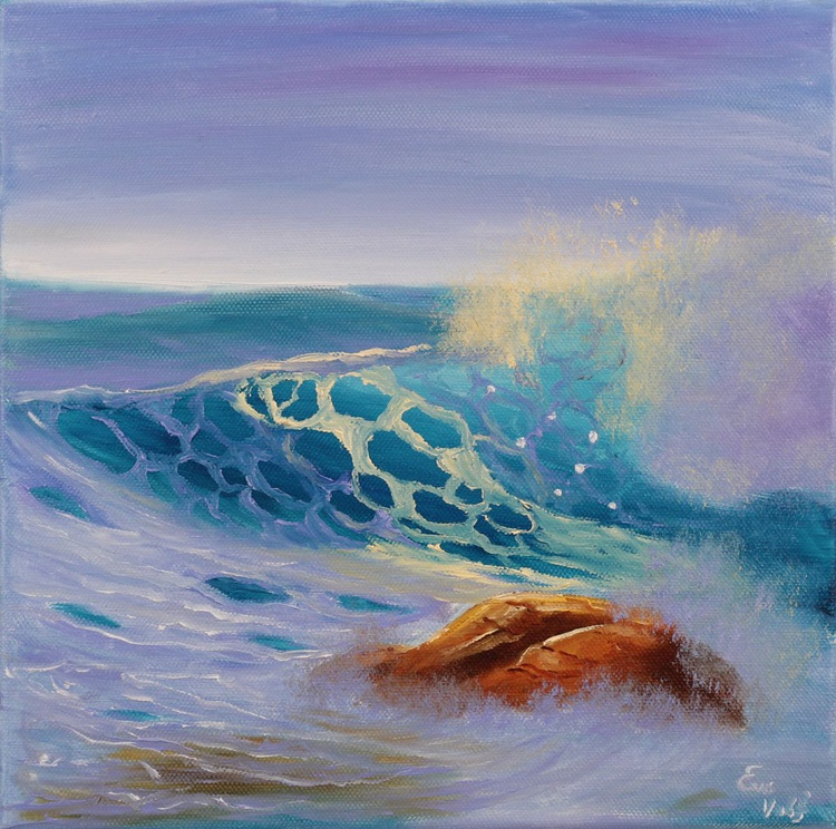 "Ocean Waves XVIII 12x12"" small seascape oil painting on canvas - Image 0"