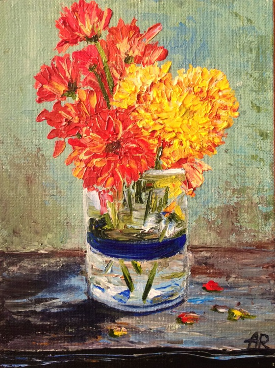 Chrysanthemums in a glass - Image 0