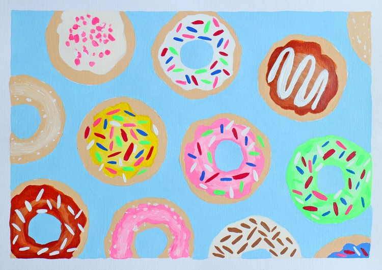 Donuts Pop Art Painting On A4 Paper - Image 0