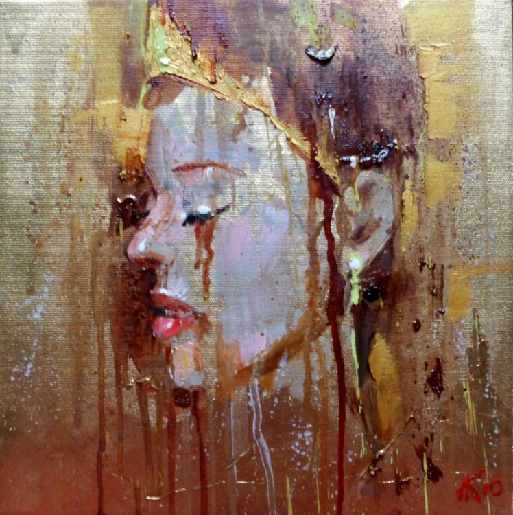 Girl In Gold. Abstract portrait 30x30 cm - Image 0