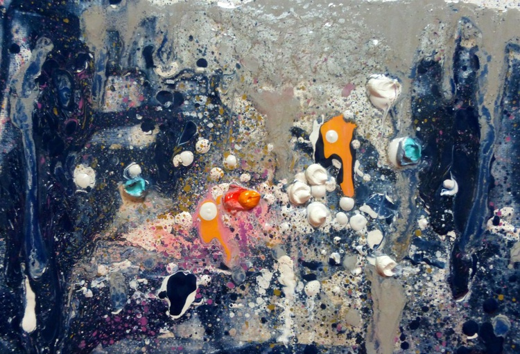 rain outside the window, oil painting 30x20 cm - Image 0