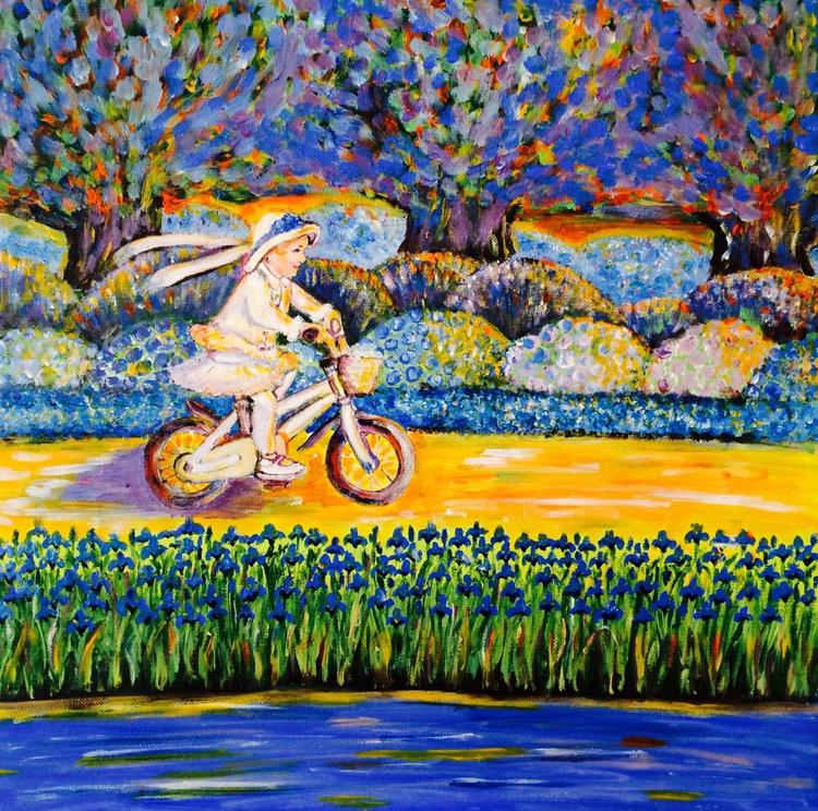 BLUE GARDEN 3 - GIRL ON BIKE - Image 0