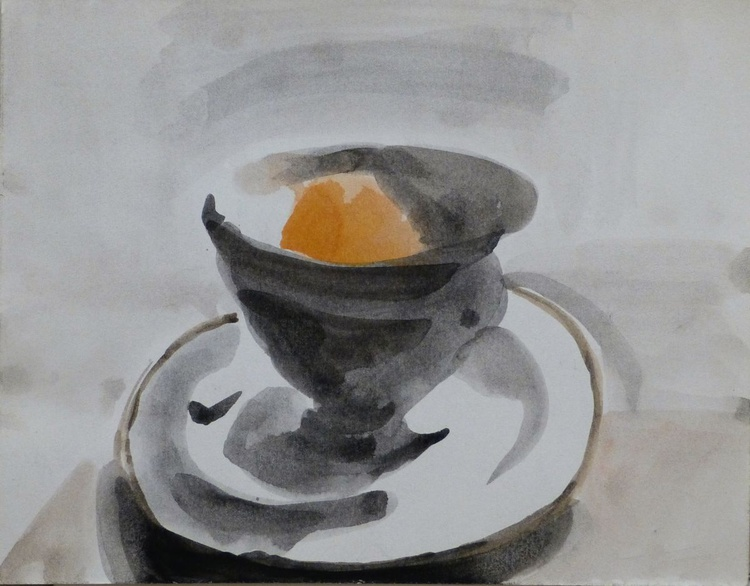 Still Life with A Tea Cup and an Orange #1, 21x16 cm - Image 0