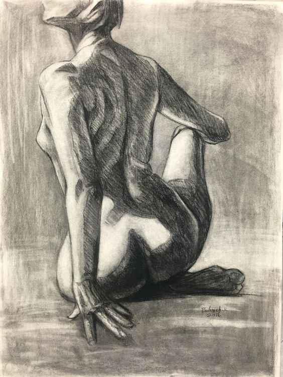 Sitting woman life drawing