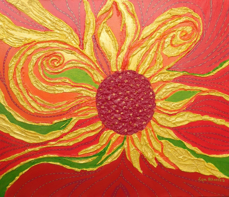 Golden Days of Summer - Original, unique, modern abstract floral impasto painting with texture - Image 0
