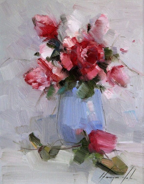 Vase of Roses Handmade oil Painting on Canvas Signed - Image 0