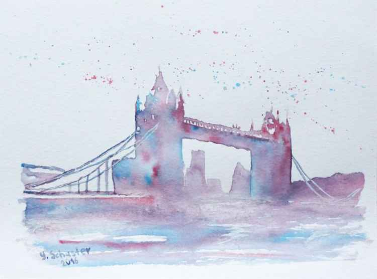 Tower Bridge. Abstract watercolor