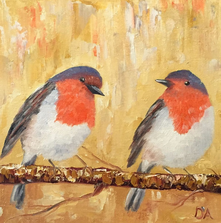 Two Robins On A Branch - Image 0