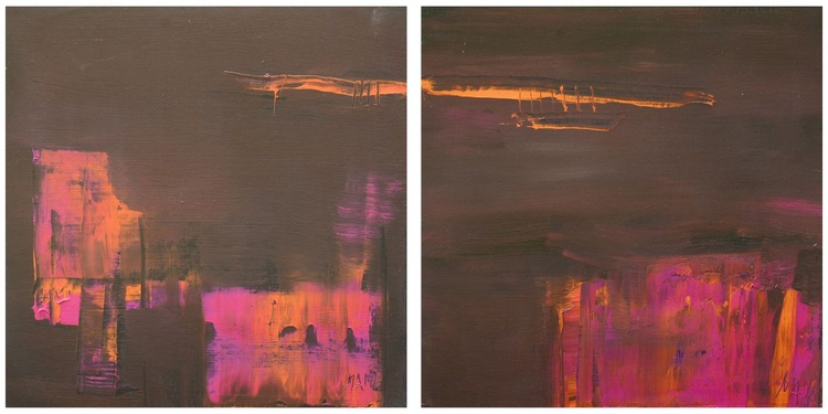 Abstract #139 - Orange and Pink Diptych - Image 0