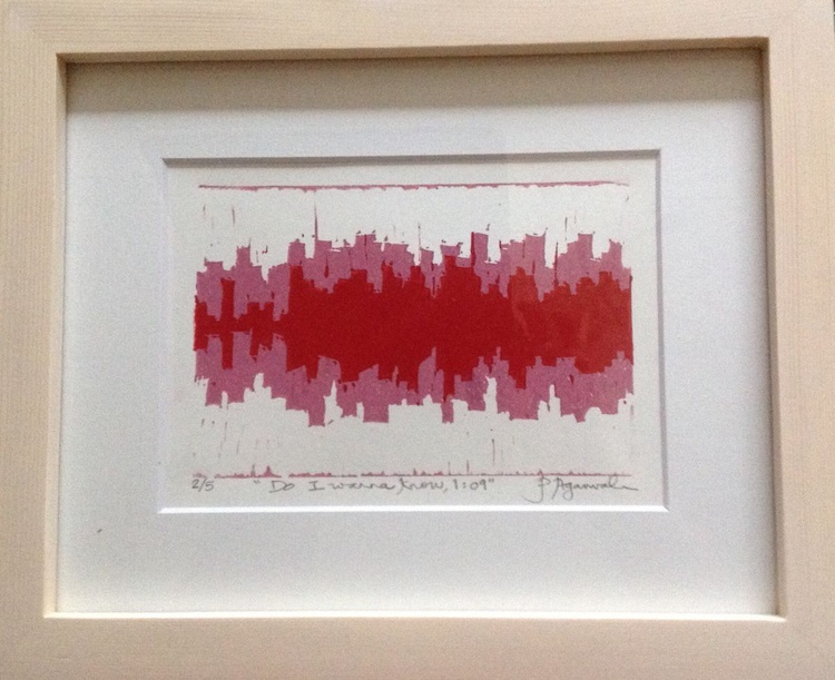 Personalised music soundscape, Arctic Monkeys, handmade Linocut - Image 0