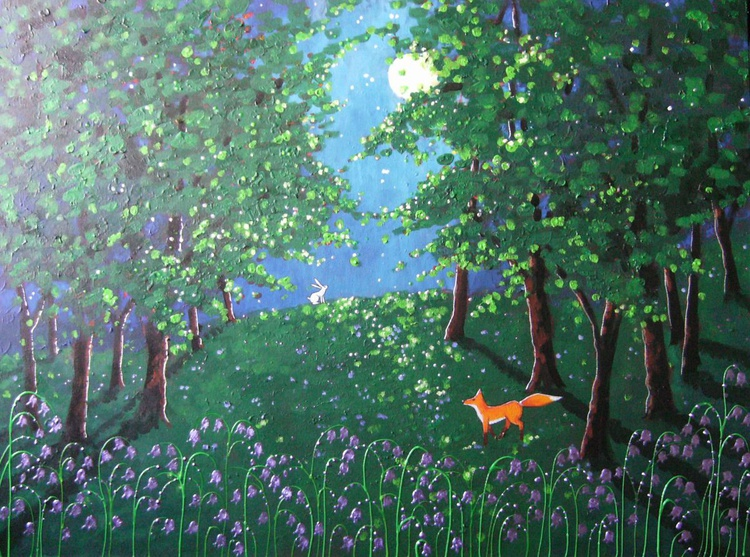 Moonlight in the bluebell wood - Image 0