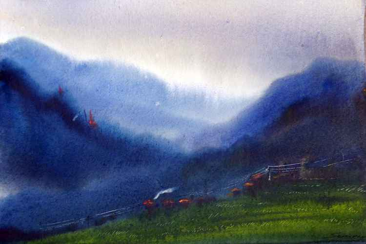 Mysterious Monsoon Himalaya - Watercolor on Paper
