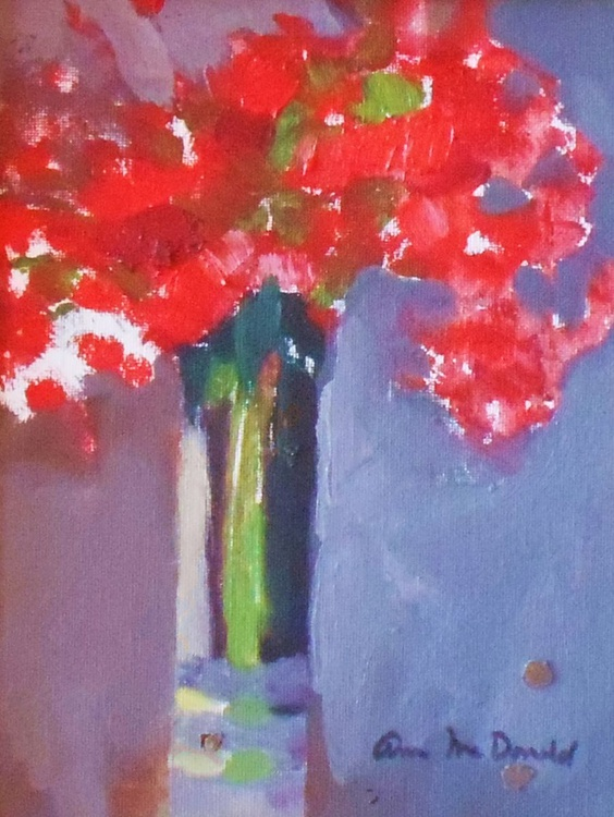 Red Poppies in Tall Glass Vase - Image 0