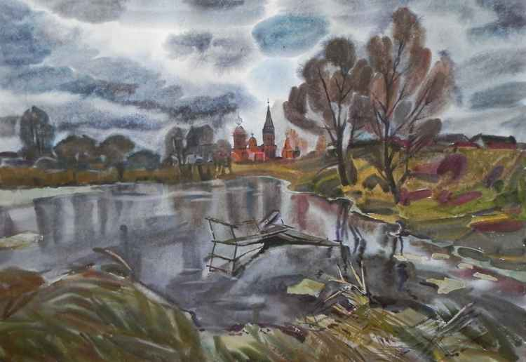Rain begins, large painting 98x68 cm
