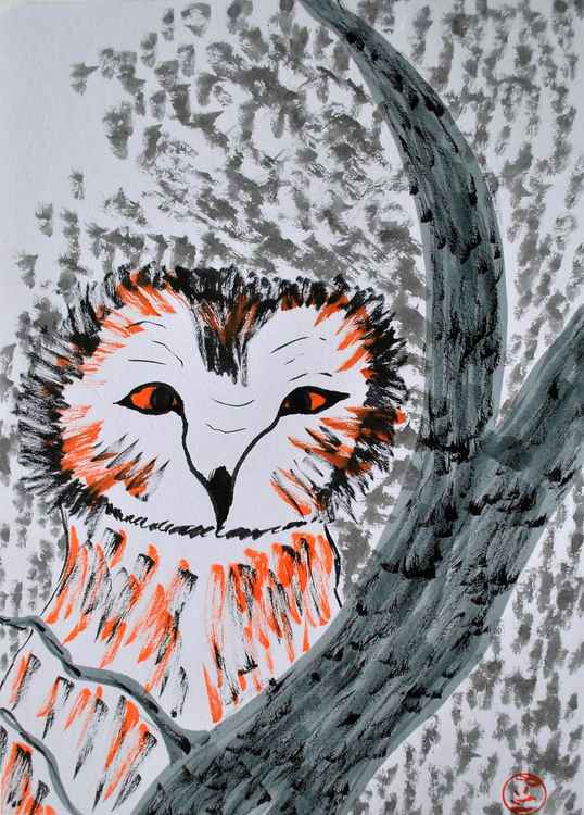 owl behind branch