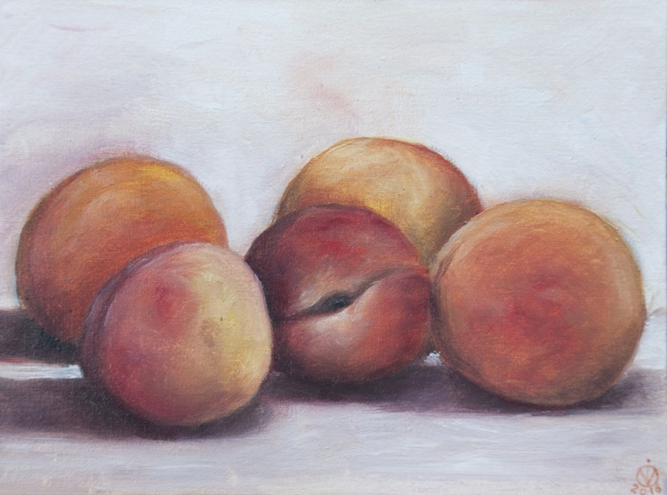 Some Peaches (18x24cm) original oil painting still life realistic miniature small gift kitchen decor - Image 0