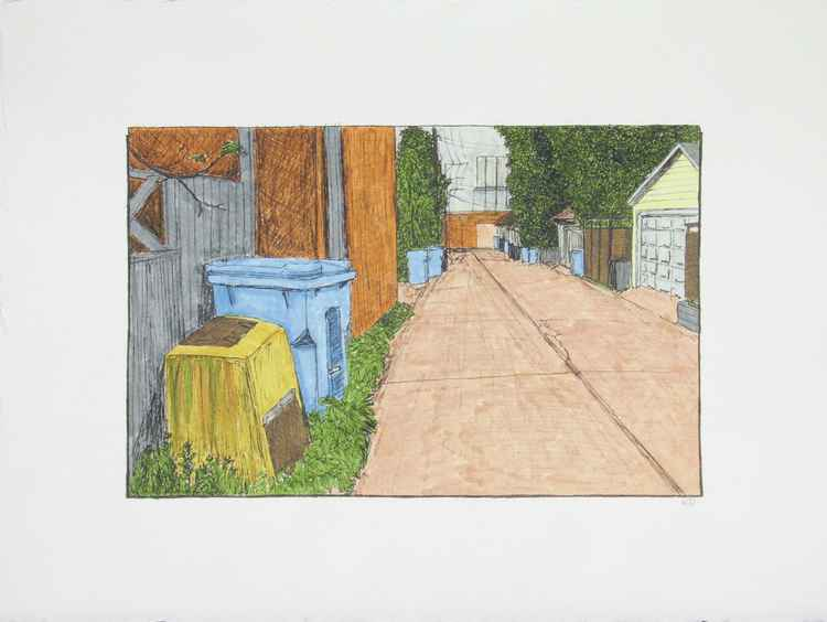 Alley with Ash Bin -