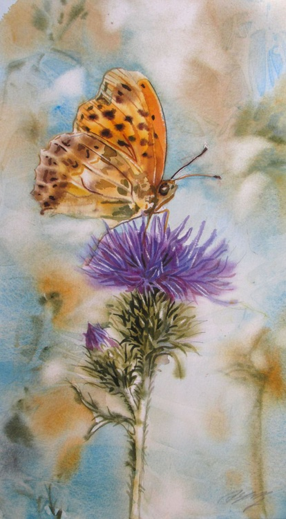 """A painting a day #1 """"butterfly with thistle"""" - Image 0"""