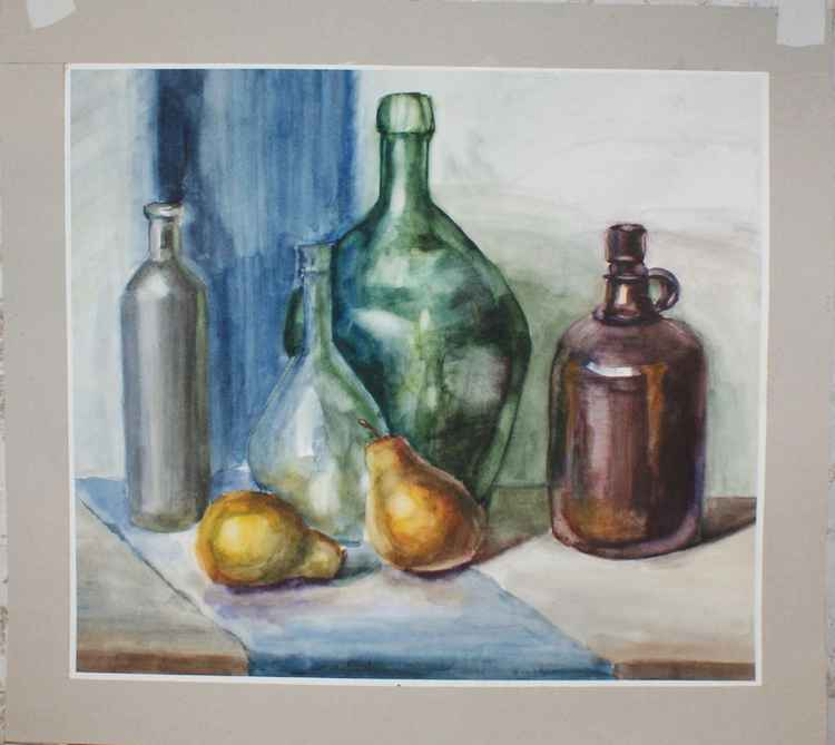 Still life with pears. Watercolor -