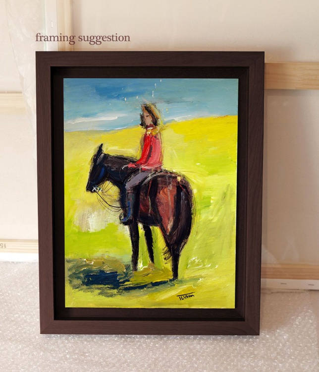 woman in red riding a brown horse - Image 0