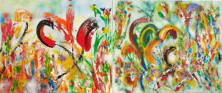 MISTY GARDEN DUETTE. 140/60 cm two paintings (70/60) - Image 0