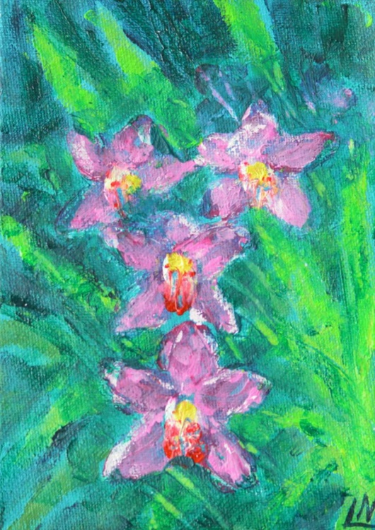 Tropical Flowers - Orchid - Finger Painting - Image 0