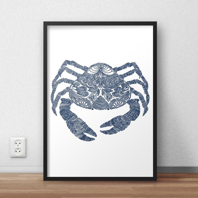 Hand Drawn Navy Blue Crab Framed Digital Artwork Print - Image 0